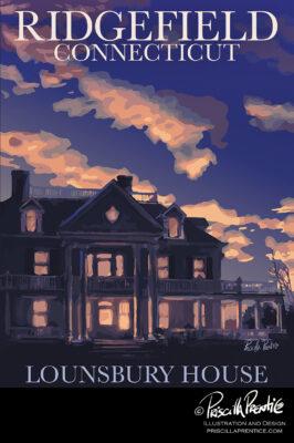 Lounsberry House poster by illustrator Priscilla Prentice