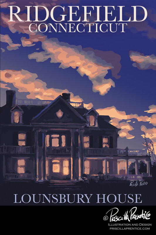Lounsberry House poster by illustrator Priscilla Prentice