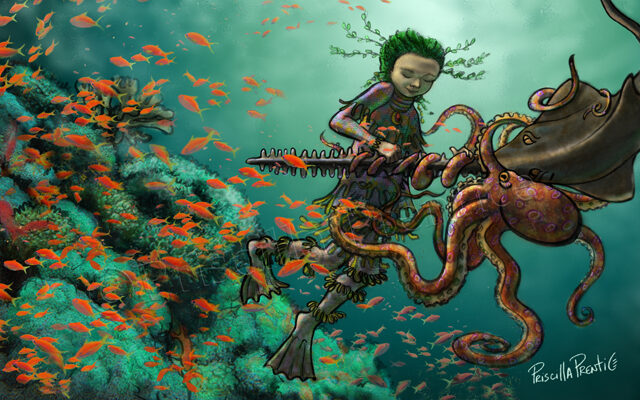 undersea person helping an octopus and fish Illustration by Priscilla Prentice