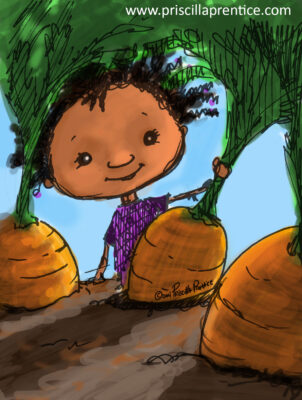 Sketch of girl picking carrots from a dramatic perspective by illustrator Priscilla Prentice