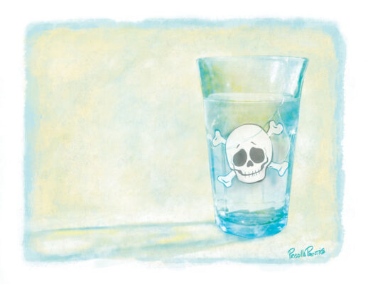 Glass of water with a skull in it - illustration by Priscilla Prentice