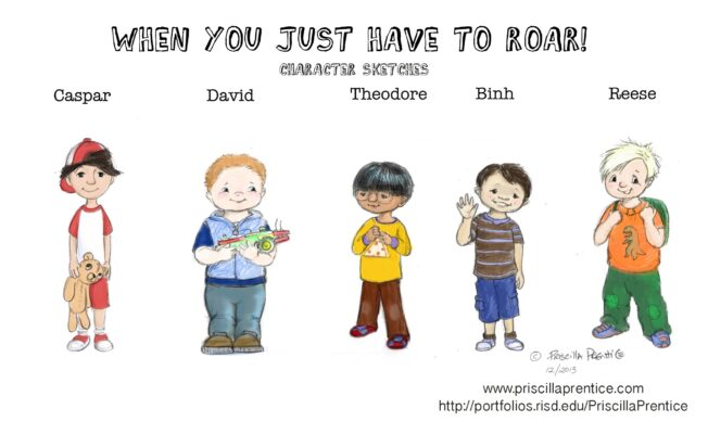 character sketches of boys from children's book, When you Just Have to Roar, By illustrator Priscilla Prentice