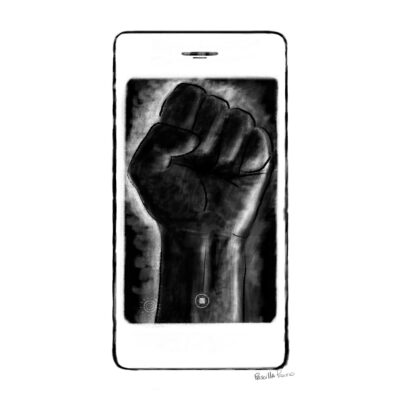 smart phone with a power fist on screen illustration by Priscilla Prentice