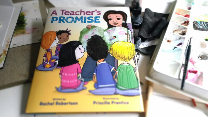 cover image for Teacher's Promise children's book illustration by Priscilla Prentice