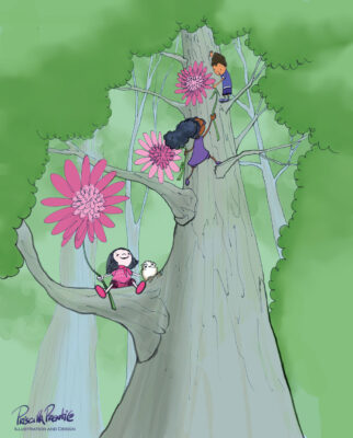 drawing of children climbing a tree from children's book, A teacher's Promise - illustration by Priscilla Prentice