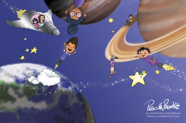 illustration of kids zooming in space for A Teacher's Promise children's book - Illustrations by Priscilla Prentice