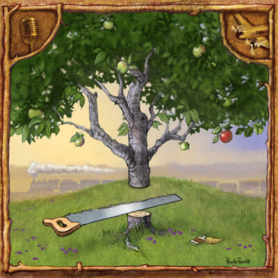 tree being chopped down illustration for Spotify Album by illustrator Priscilla Prentice