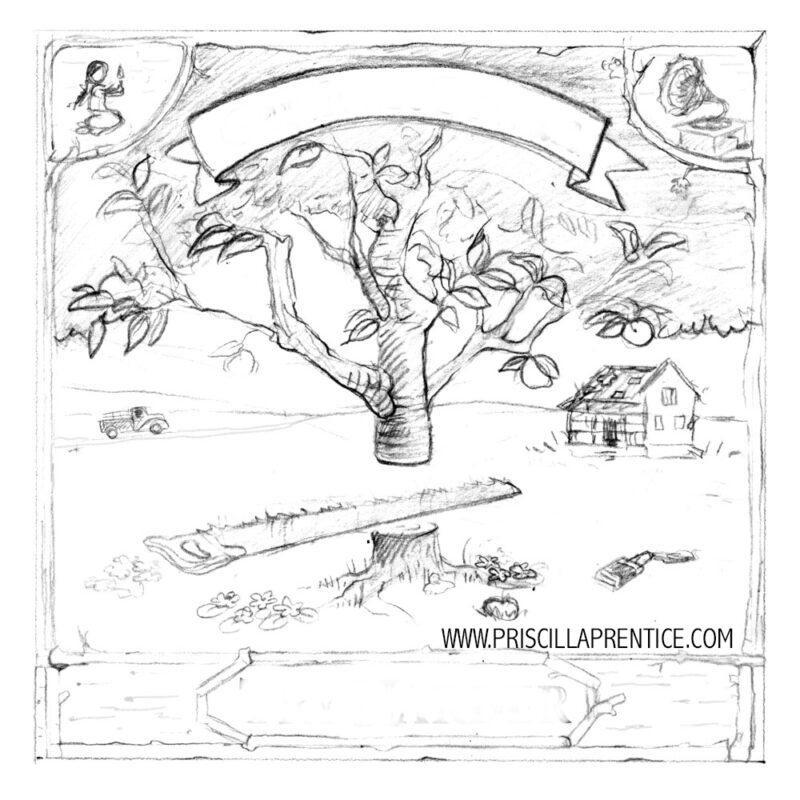 pencil sketch of tree for Spotify album cover by illustrator Priscilla Prentice