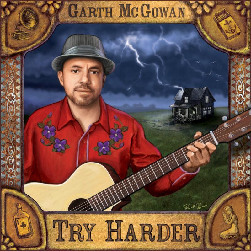 album cover illustration of Garth McGowan by illustrator Priscilla Prentice for Spotify