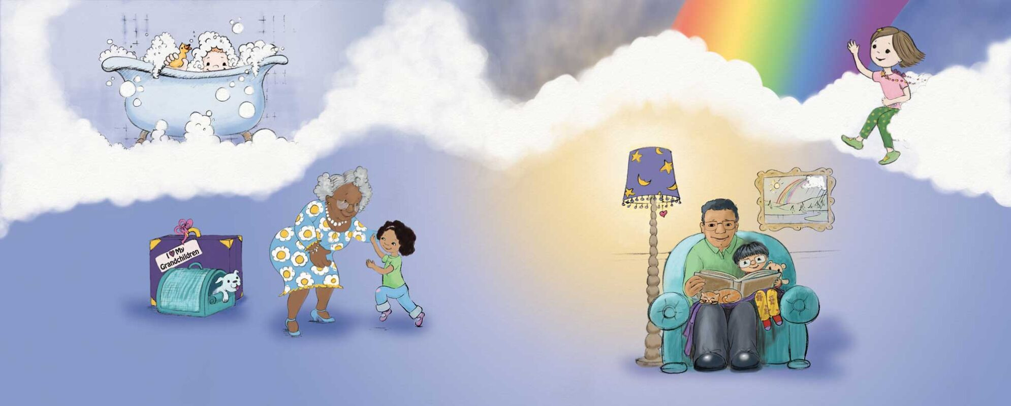 illustration of children with family from children's book, Wehn You Just Have To Roar, Illustration by Priscilla Prentice
