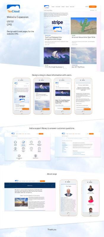 TaxCloud portfolio images of website design by UX/UI Designer Priscilla Prentice
