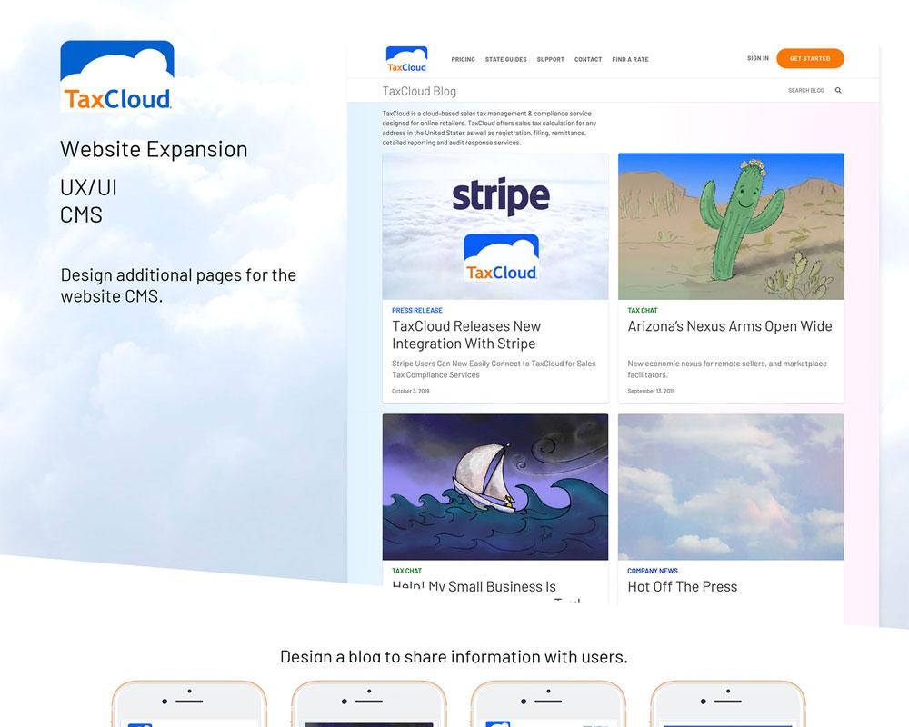 TaxCloud website UX/UI Design by Priscilla Prentice
