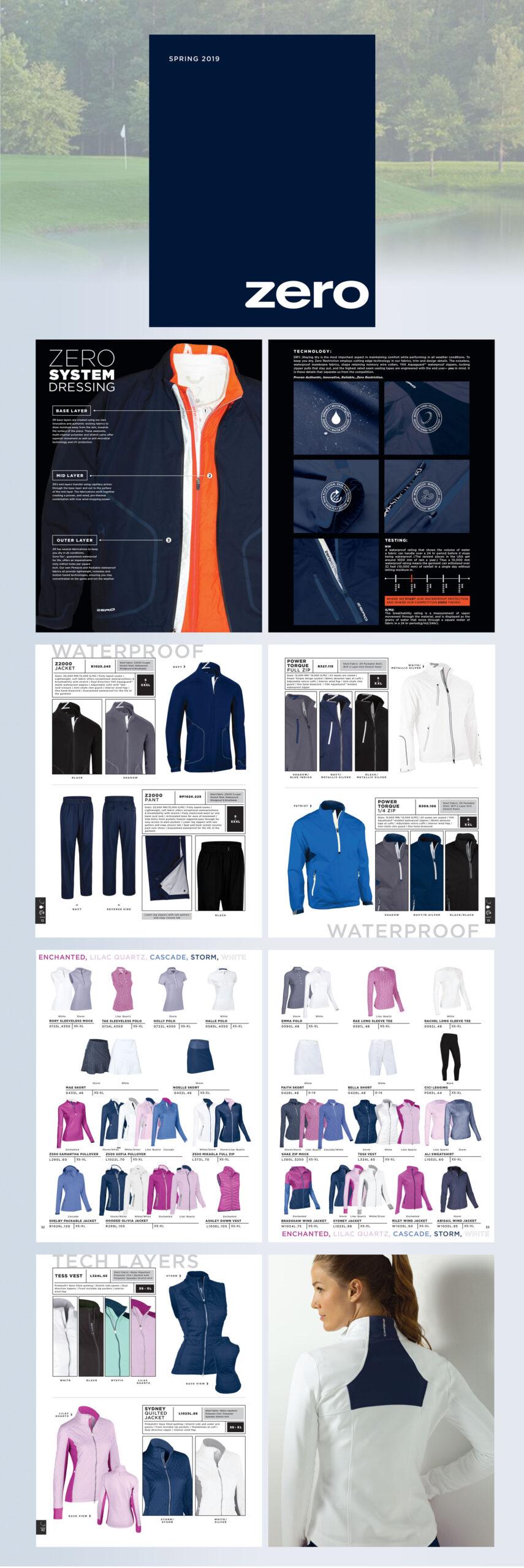 layout portfolio pictures for Zero Restriction golf apparel catalog