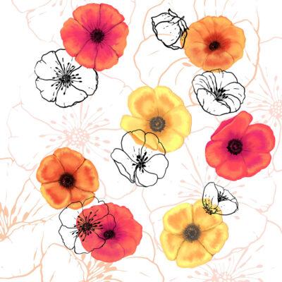 Yellow and orange poppy print by by Designer Priscilla Prentice