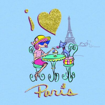 Girl in paris with little dog at cafe table saying I love paris by Priscilla Prentice Print Designer