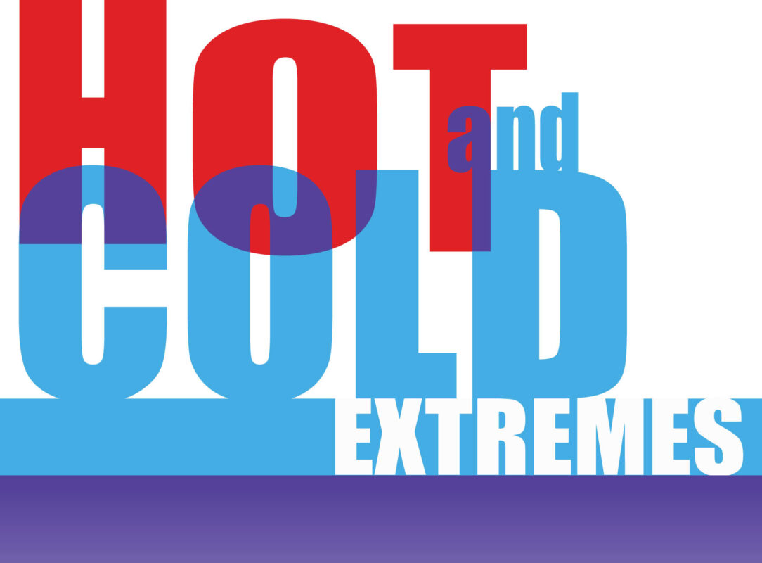 Hot and Cold Extremes in fancy writing for Ridgefield Guild of Artists by Designer Priscilla Prentice