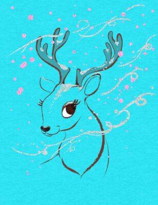 Winter Deer Print by Designer Priscilla Prentice