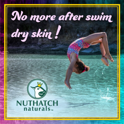 Girl doing a backflip into the ocean- nuthatch naturals skin care for kids