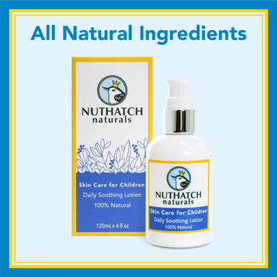 Product photo of bottle and box of Nuthatch Naturals skin care for children