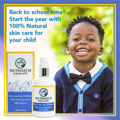 Nuthatch Naturals image showing a happy little boy dressed for the first day of school. Back to school time! Start the year with 100% natural skin care for your child.by Priscilla Prentice illustration and design