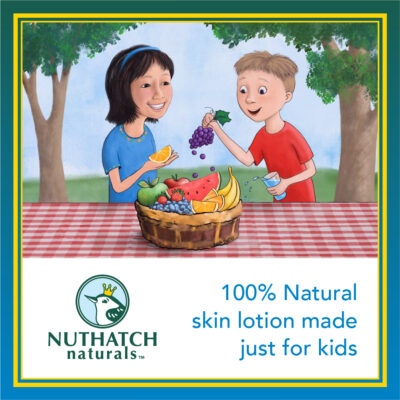 Nuthatch Naturals Social Media illustration of two children eating fruit at a picnic table - 100% Natural skin lotion just for kids