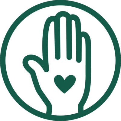 Hand with heart icon