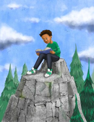 A boy reading on a mountaintop - illustration ny Priscilla Prentice for Nuthatch Naturals
