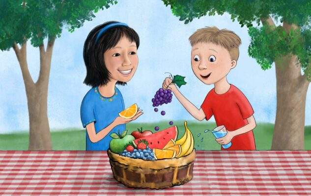 Illustration by Priscilla Prentice of two children happily eating fruit at a picnic table for Nuthatch Naturals