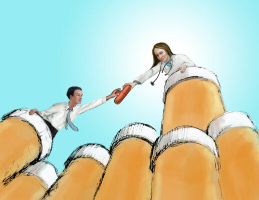 Illustration by Priscilla Prentice of a female doctor handing a large pill to a man. They are on a large mountain type structure of pill bottles.