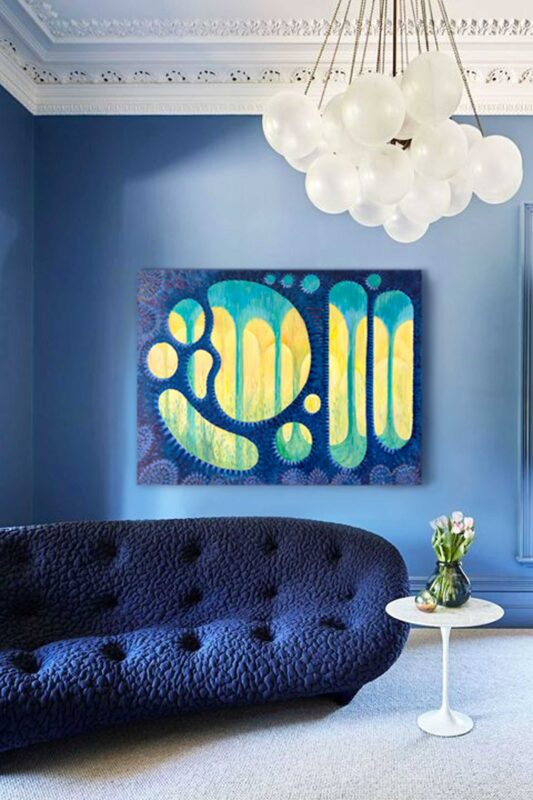 Painting by Priscilla Prentice in a blue room