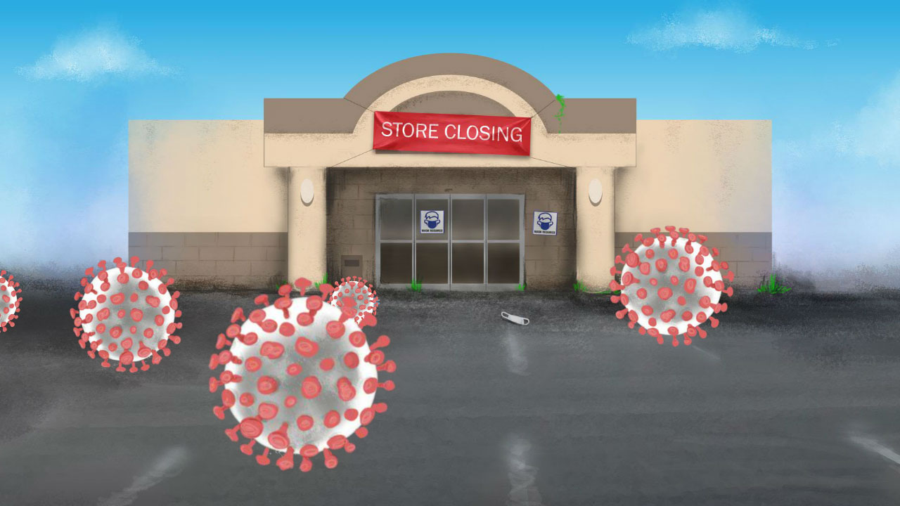 illustration of a closed strip mall that is used in a short video that has Covid viruses blowing in front like so many tumbleweeds.