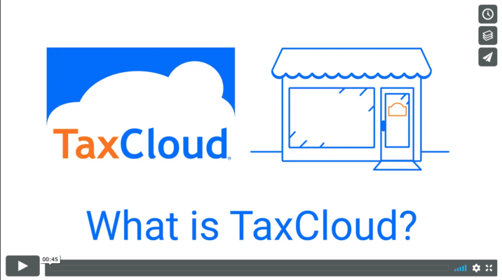 What is TaxCloud screenshot for video showing company logo and a simple store front