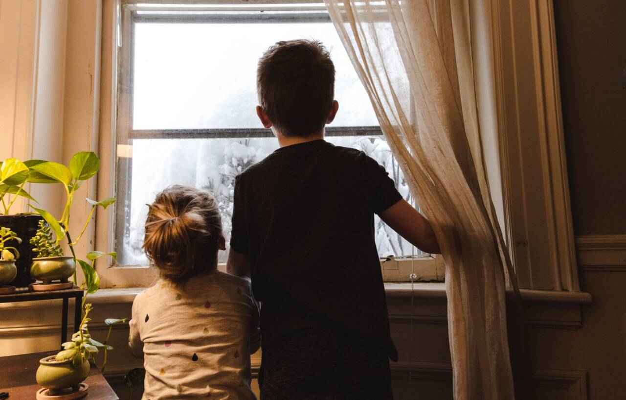kids looking out of window