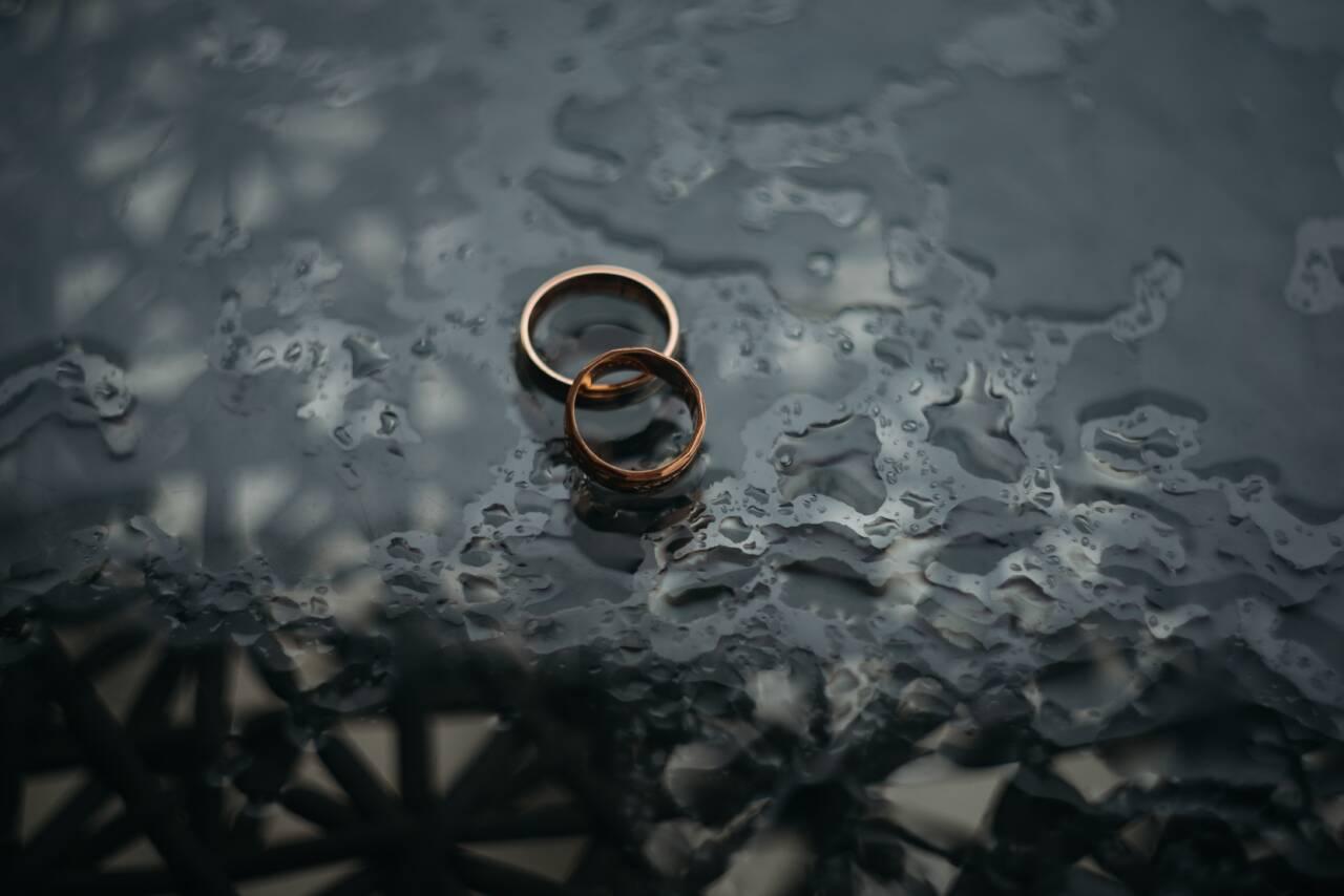 Rings sitting in water