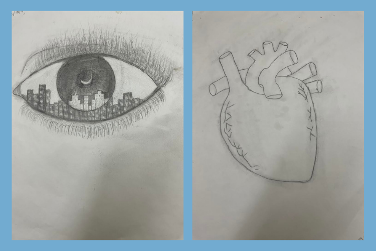 Drawing of an eye containing a cityscape and drawing of a heart