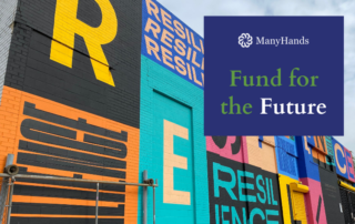 """Photo of street mural featuring the word resilience with caption, """"Fund for the Future"""""""