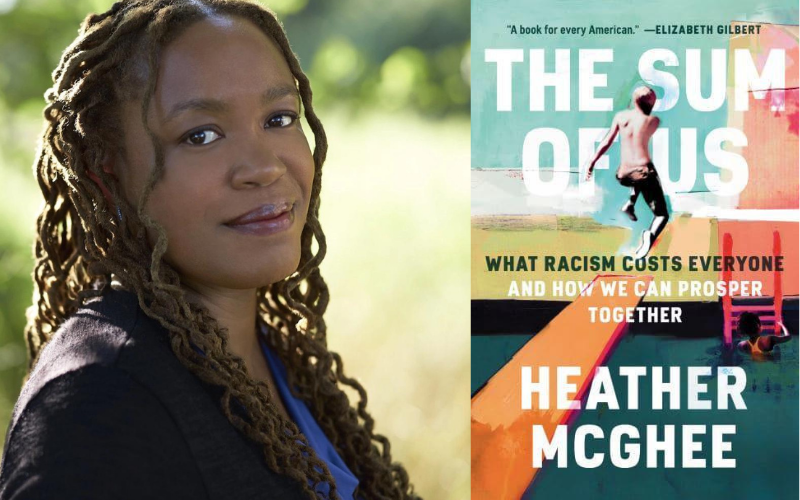 Headshot of Heather McGhee with cover of her book The Sum of Us