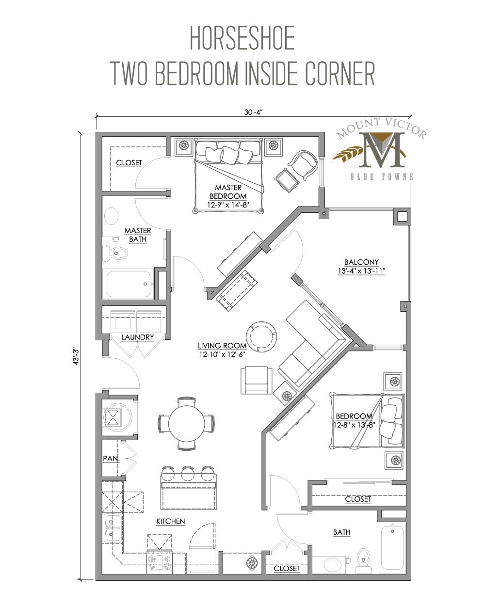 two bedroom inside corner