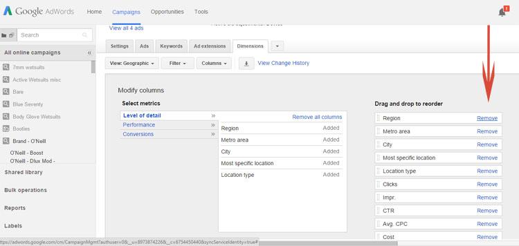 Google AdWords Dimensions Tab Removing Columns