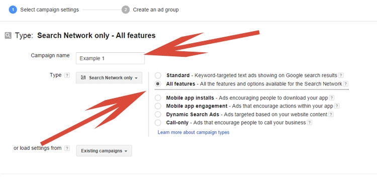 Selecting Search Type In Google AdWords