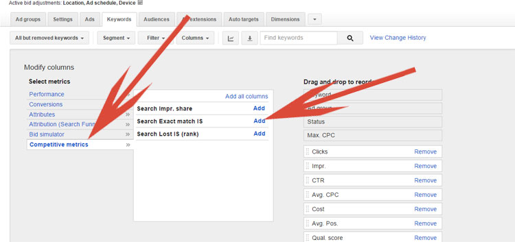 Adding Competitive Metrics In Google AdWords