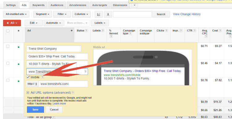 Google AdWords - Creating Mobile Optimized Ad