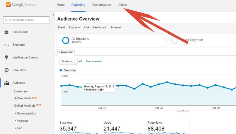 Admin Tab In Google Analytics