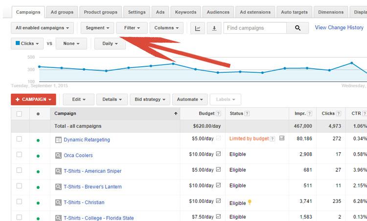 Google AdWords - Campaign Tab
