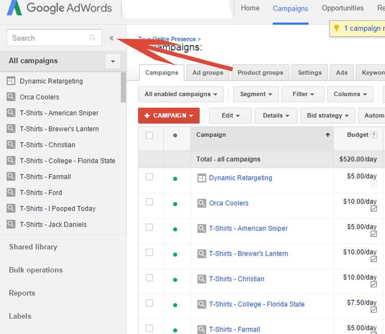 Google AdWords Left Menu