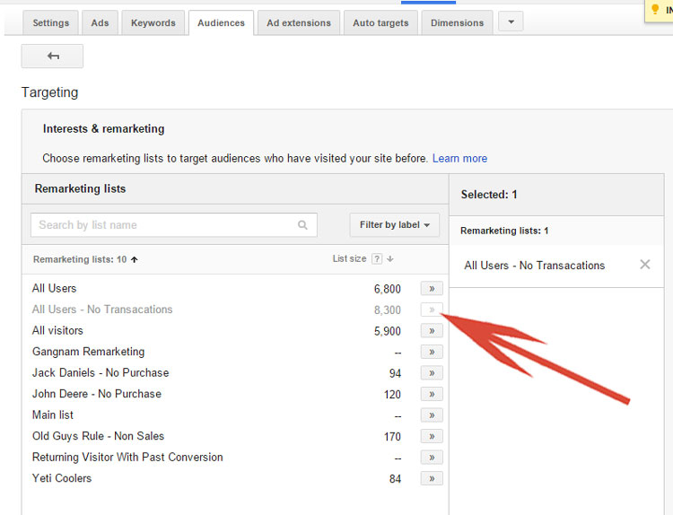 Google AdWords - Selecting A Remarketing List
