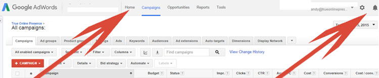 Google AdWords - Top Menu