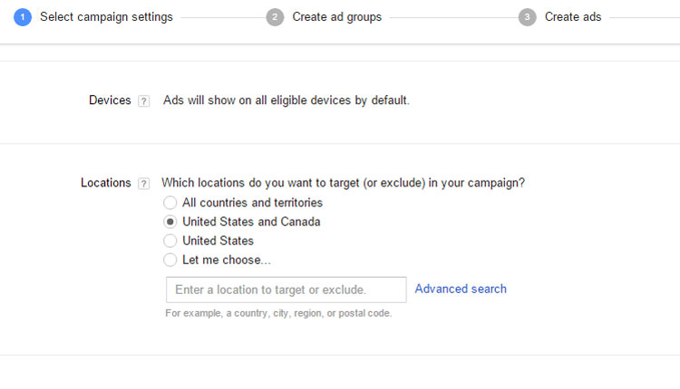 Google AdWords - Creating Location Settings