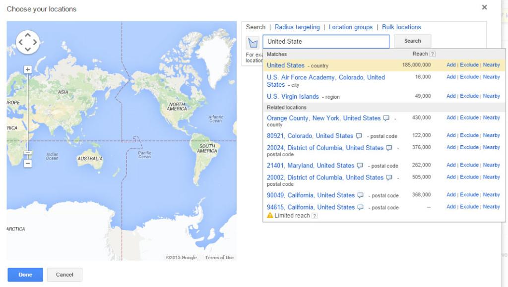 Google AdWords Formating Location Radius
