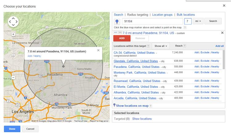 Google AdWords - 7 Mile Radius